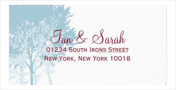 winter trees wedding format address label