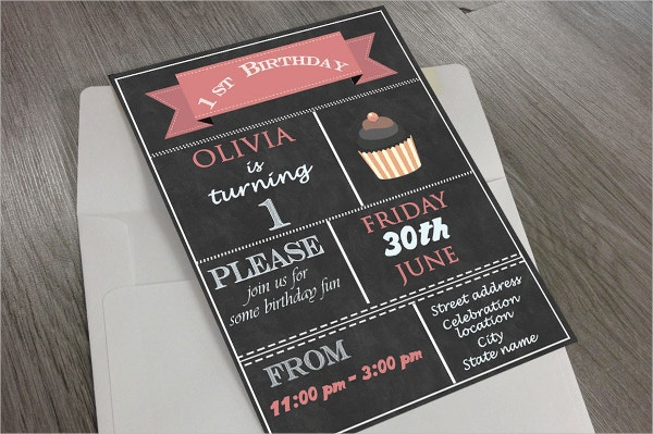 1st Birthday Postcard Invitation Template