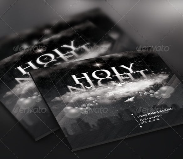 sample holy night chirstmas flyer cd label template