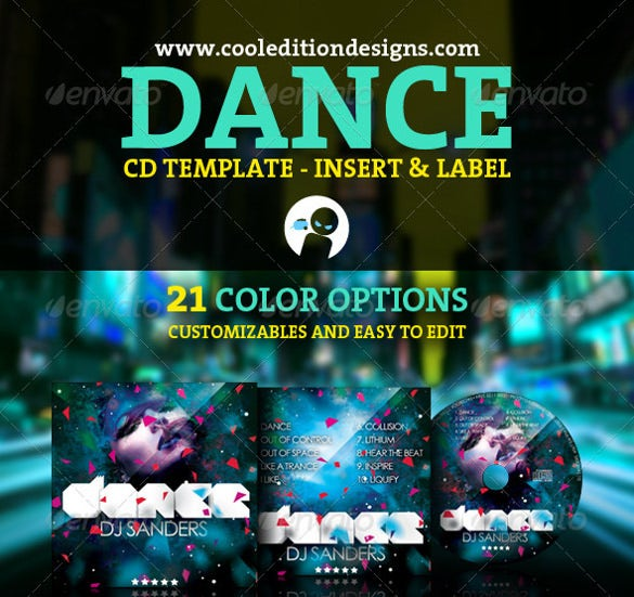 example dance cd insert and cd label