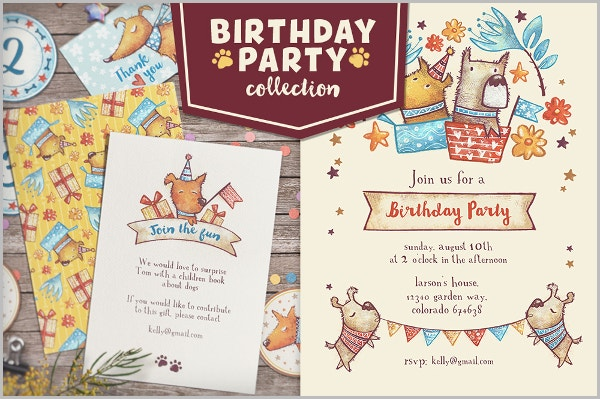 retro style birthday party invite template