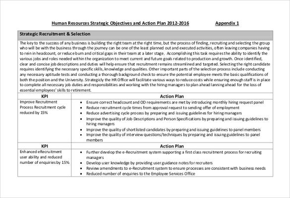human resources strategic objectives and action plan