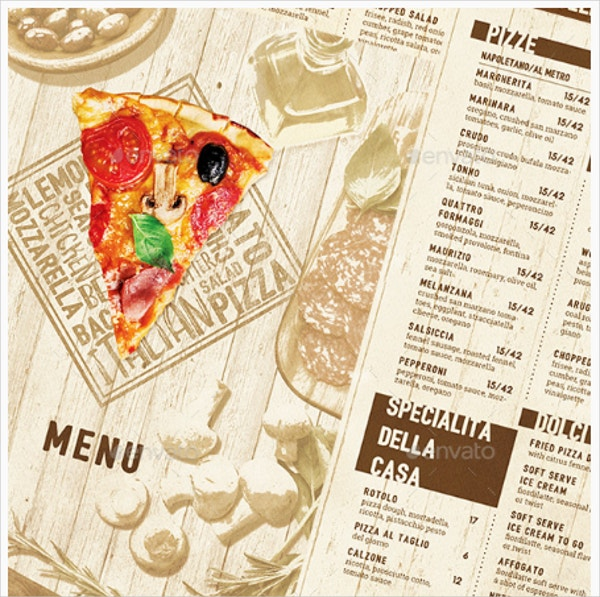 Pizza Menu Template Design