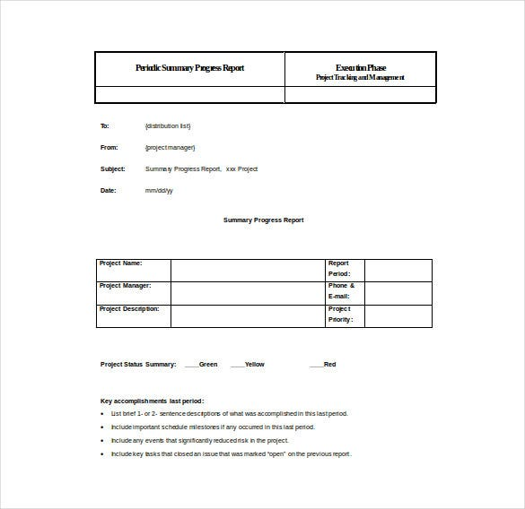 periodic summary progress report word template free download