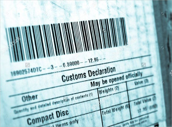 customs sample example format shipping label template