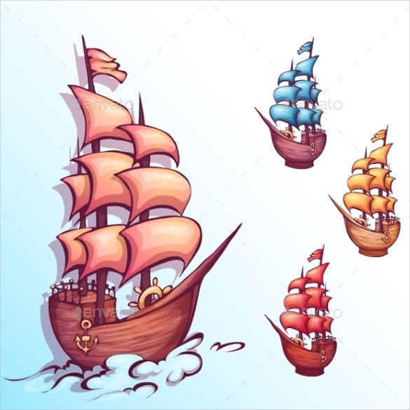 vector illustration of sail sample ship with label