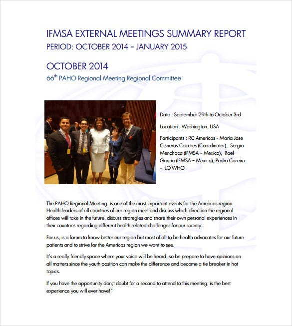 external meeting summary report free pdf template download