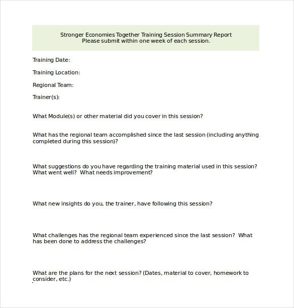 trainer summary report word template free download