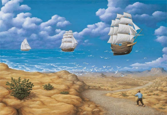 flying ships maigical painting