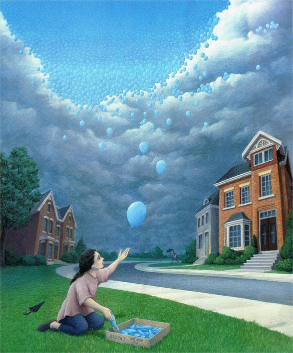 ballons as falling rain magical painting