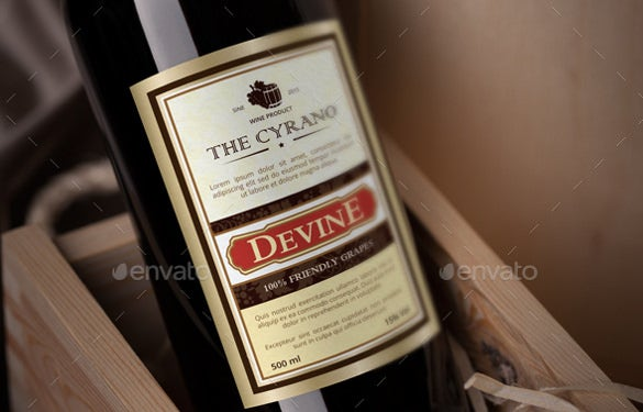 wine label sample template
