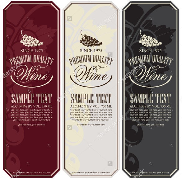 set of sample wine label format