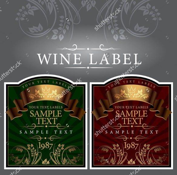 wine label with a gold ribbon of format template