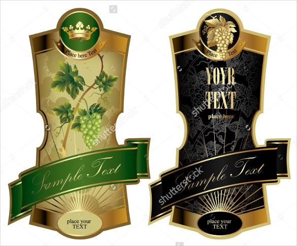 format example vector image of two gold framed wine label