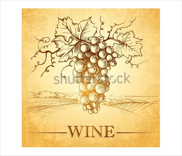 bunch of grapes for label of wine format