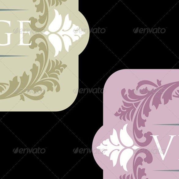 example vintage wine label template download set