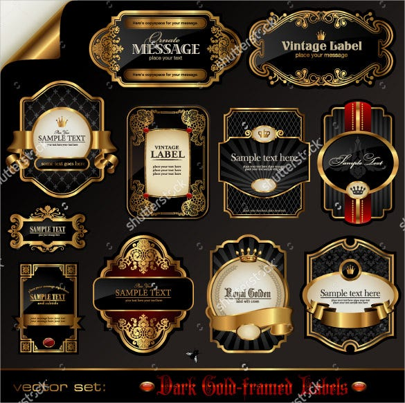sample vector set black gold framed label