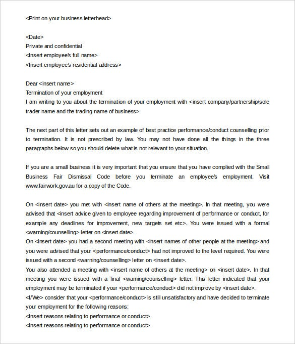 11 employment termination letter templates free sample example fairwork if you are looking for a sample employment termination letter template which will help you to draft the perfect termination letter spiritdancerdesigns