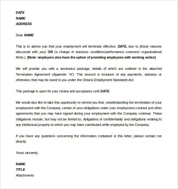 11 employment termination letter templates free sample example sample employment termination agreement template word format thecheapjerseys Images
