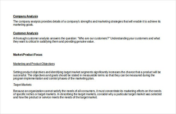 Marketing Strategy Templates   Sample Example Format