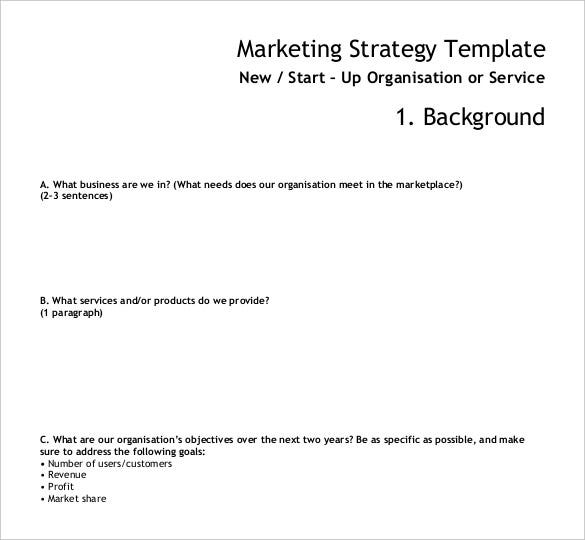 marketing strategy template in pdf format