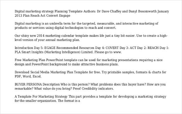 marketing strategy template free file type pdf
