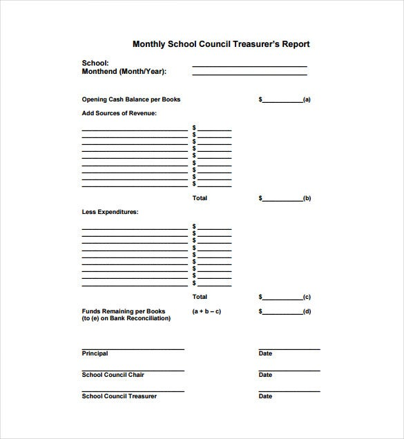 Monthly School Council Treasurers Report PDF Template Free Download