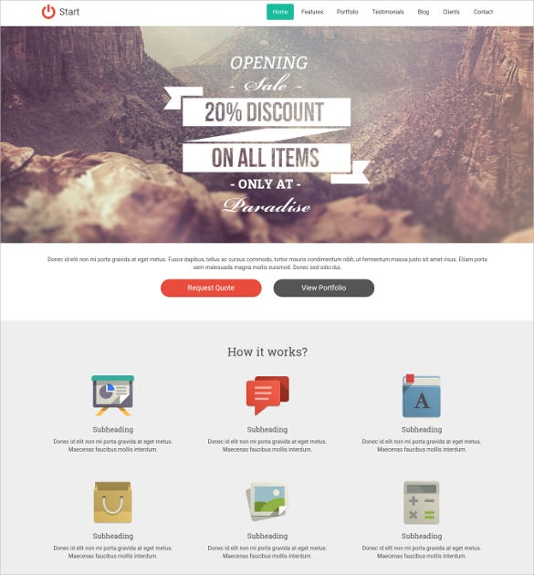 responsive one page boostrap website template