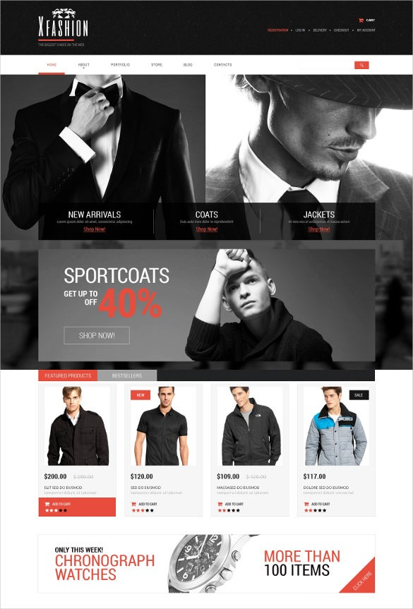 retail mens apparel psd template