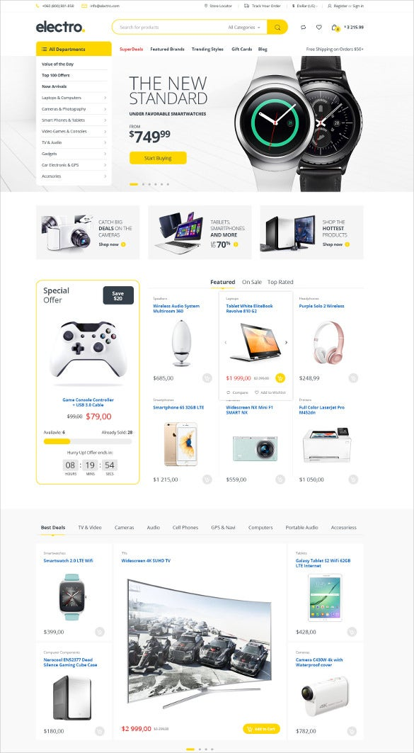 retail electronics ecommerce psd template