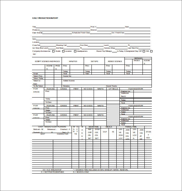 daily production report word template free download