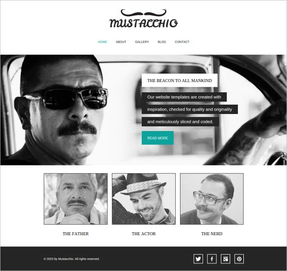free mustache enthusiast business website theme