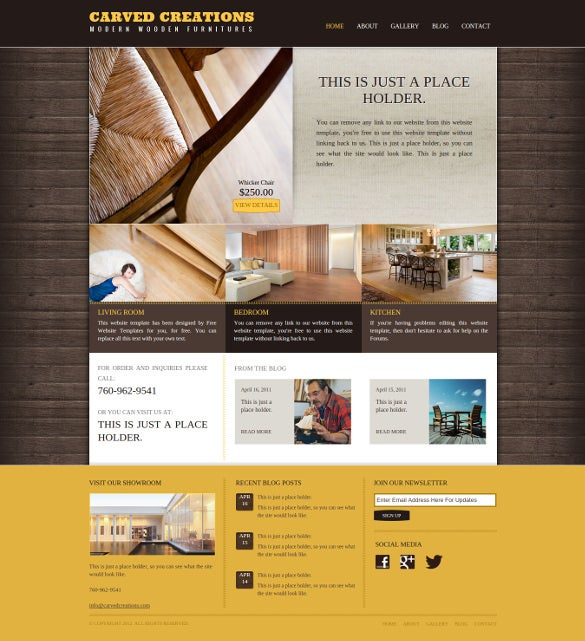 free wood working business website template