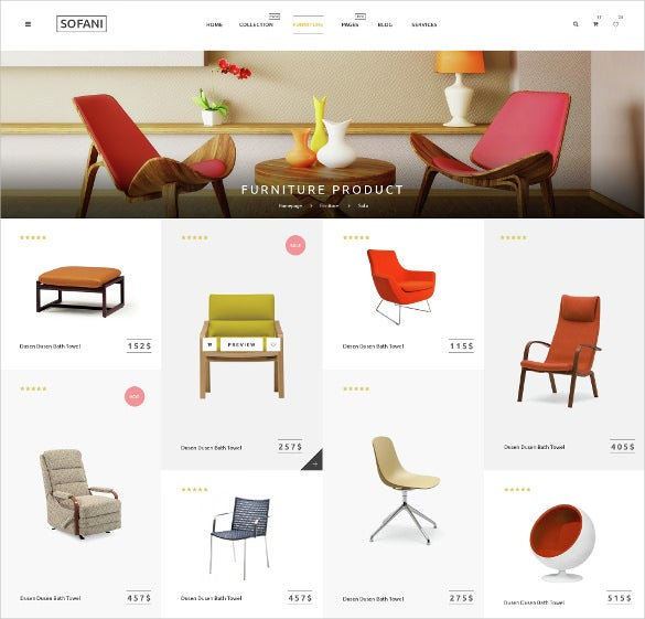 retail furniture store psd template