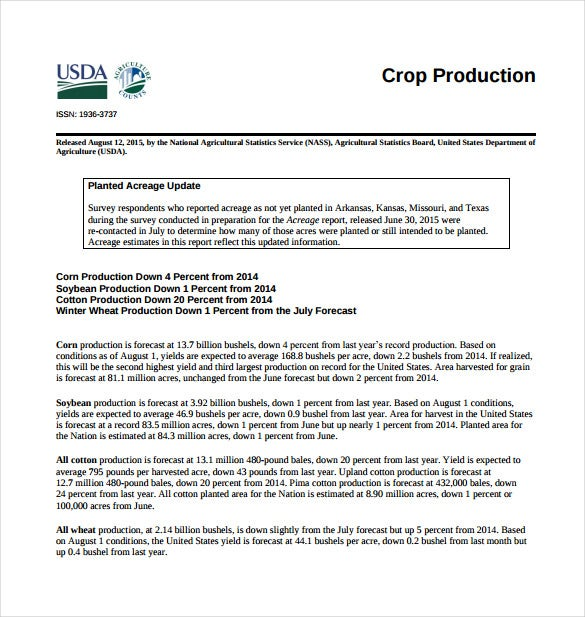 crop production report pdf template free download