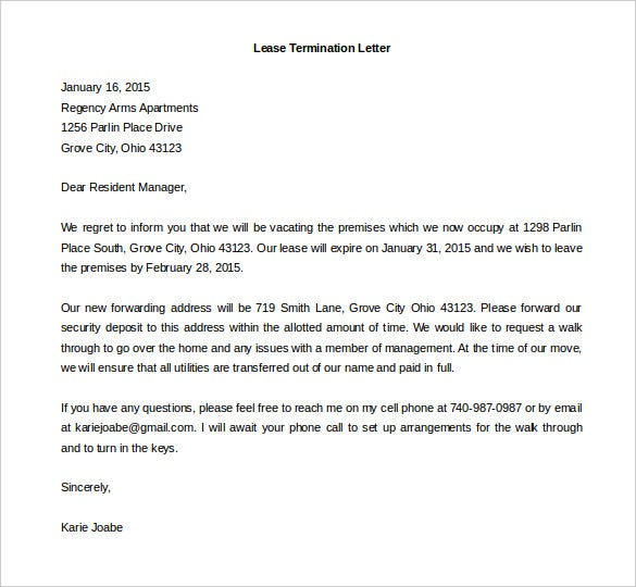 Lease Termination Letter Templates 23 Free Sample Example – Lease Termination Letter