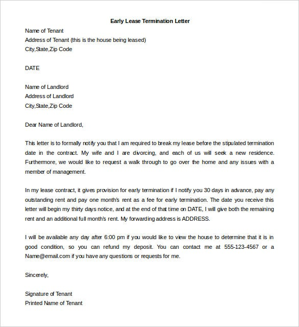 sample early lease termination letter from tenant download