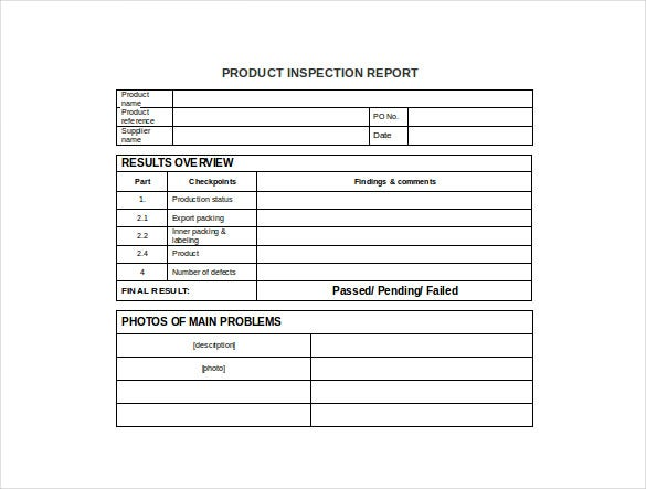 product inspection report word template free download