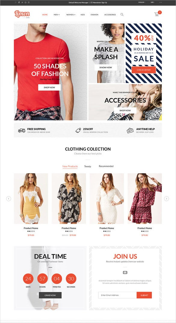 retail all in 1 ecommerce psd template