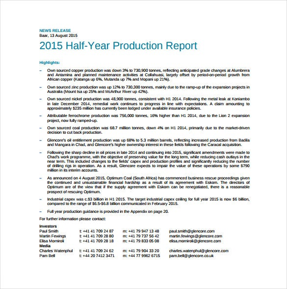 half year production report pdf template free download