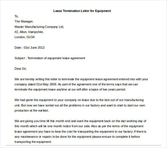 Lease Termination Letter Templates 23 Free Sample Example – Equipment Lease Form