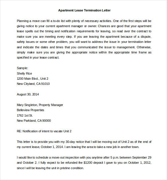 free sample lease termination letter apartment template word doc - Notice To Terminate Lease Agreement