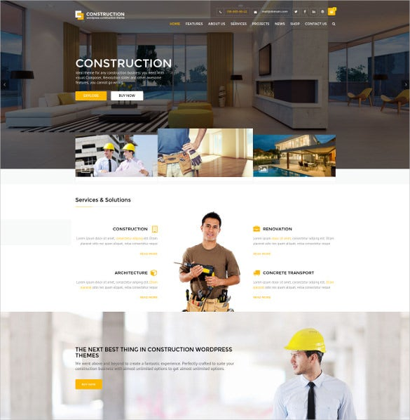 corporate construction agency wordpress theme