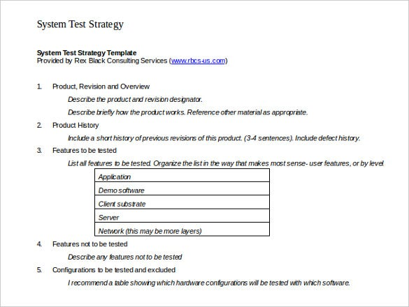 system test strategy template