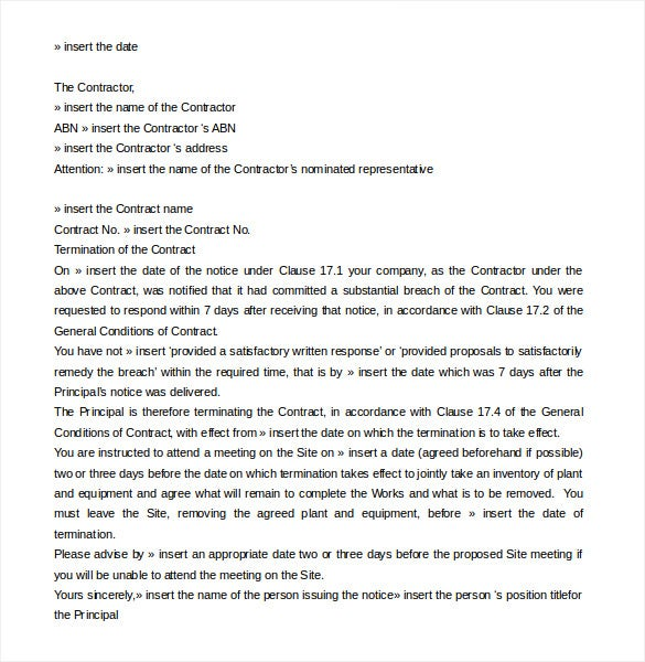 contract termination letter template 17 free sample example