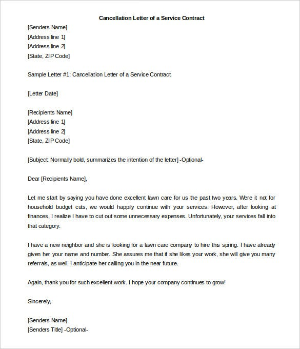 Termination Letter Of A Service Contract Template Sample For Free  Format For Termination Letter