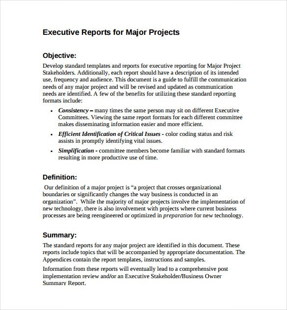 Executive Sponsor Reports For Major Projects PDF Free Download  Executive Report Template Word