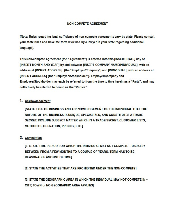 Business NonCompete Agreement   Free Word Pdf Documents