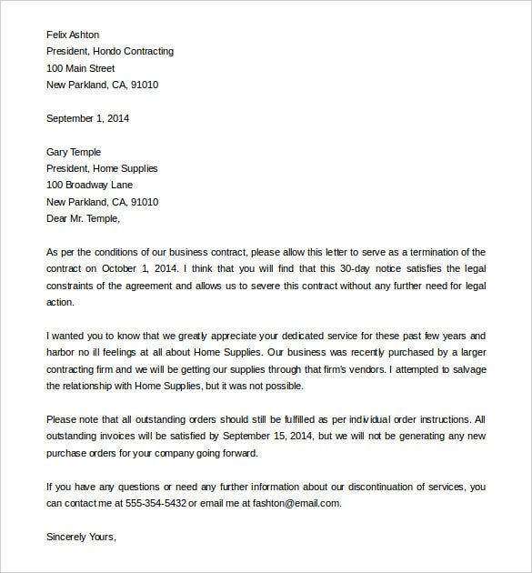 business service contract termination letter sample