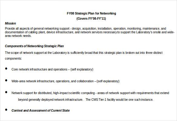 strtategic plan for networking template